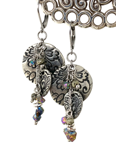 Engraved Floral Pewter and Rainbow Pyrite Beaded Dangle Earrings #1347E