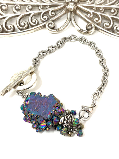 Rainbow Pyrite and Golden Hematite Interchangeable Dangle Bracelet #3224BC - Bead Dangle Design