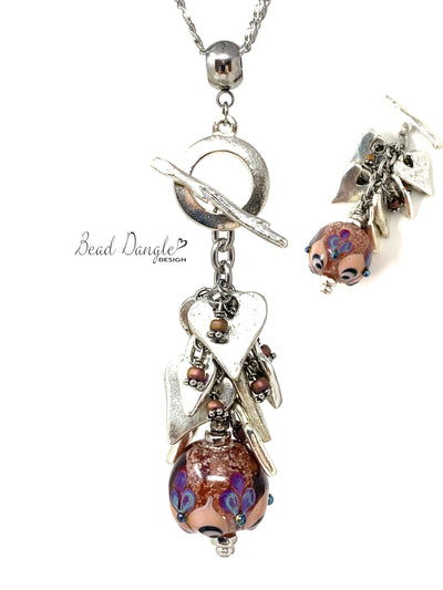 Pretty Lampwork Floral Glass Beaded Dangle Necklace #3195D - Bead Dangle Design