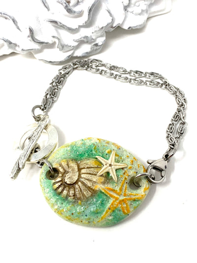 Shell and Starfish Polymer Clay Interchangeable Dangle Bracelet Pendant #3097BC