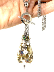Chunky Lampwork Glass and Swarovski Pearl Beaded Cluster Necklace #2326D - Bead Dangle Design