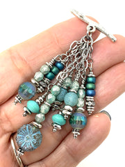 Floral Czech Glass and Crystal Beaded Cluster Pendant Necklace #2669D - Bead Dangle Design