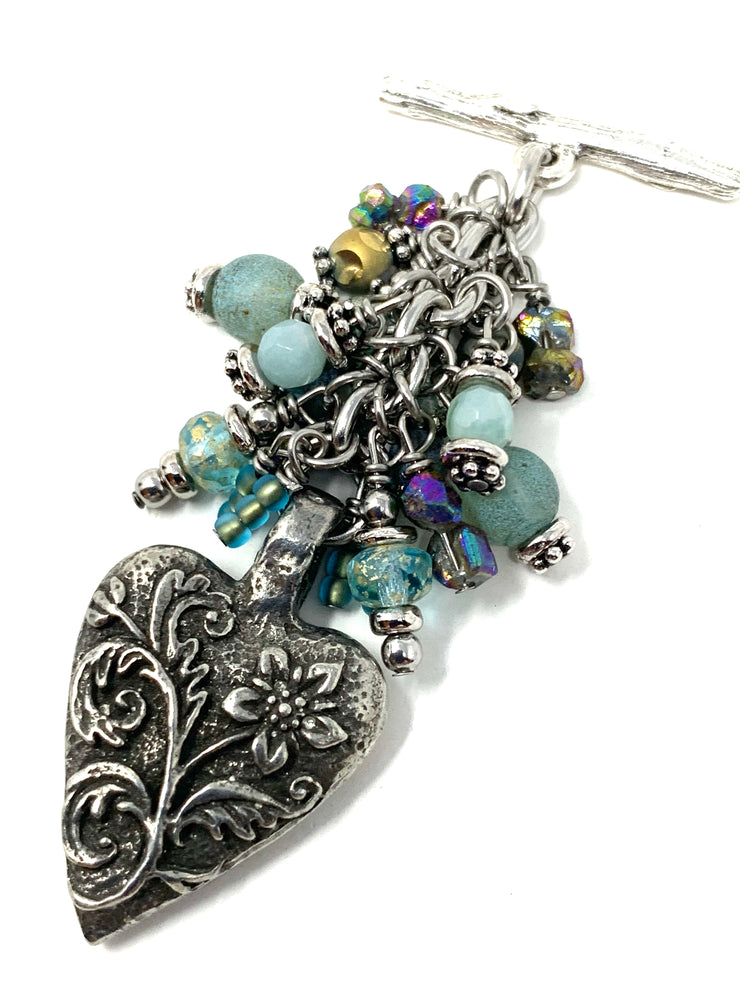 Floral Heart Beaded Cluster Pendant #2612D - Bead Dangle Design
