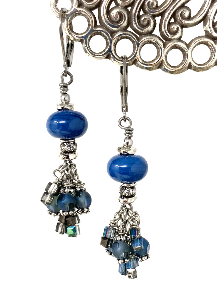 Slate Blue Lampwork Glass Crystal Beaded Dangle Cluster Earrings #1151E - Bead Dangle Design