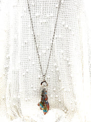 Boho Chic Painted Enamel Butterfly Beaded Cluster Pendant Necklace #2661D - Bead Dangle Design