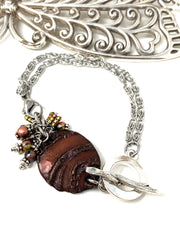Boho-Chic Polymer Clay Embossed Interchangeable Dangle Bracelet Pendant #31074BC