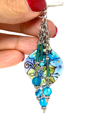 Boho Floral Painted Enamel Beaded Pendant Necklace #2363D - Bead Dangle Design