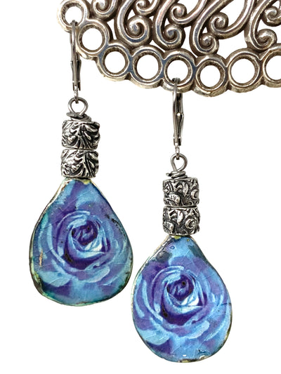 Blue Floral Rose Boho Ceramic Beaded Earrings #1427E - Bead Dangle Design
