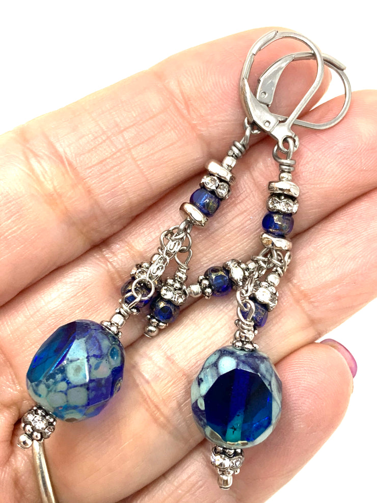 Fire Polished Czech Glass Cobalt Blue Beaded Dangle Cluster Earrings #1148E - Bead Dangle Design