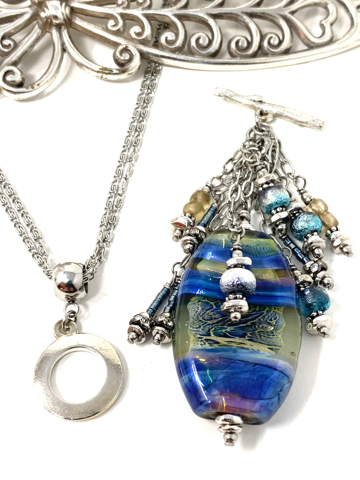 Gorgeous Handmade Lampwork Glass Beaded Cluster Pendant Necklace #2696D - Bead Dangle Design