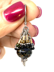 Black and Gold Lampwork Glass Seed and Bugle Bead Dangle Cluster Earrings #1152E