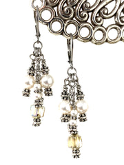 Golden Czech Glass and Swarovski Pearl Beaded Dangle Earrings #1135E - Bead Dangle Design