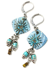 Patina Copper Sun Beaded Dangle Earrings #1222E - Bead Dangle Design