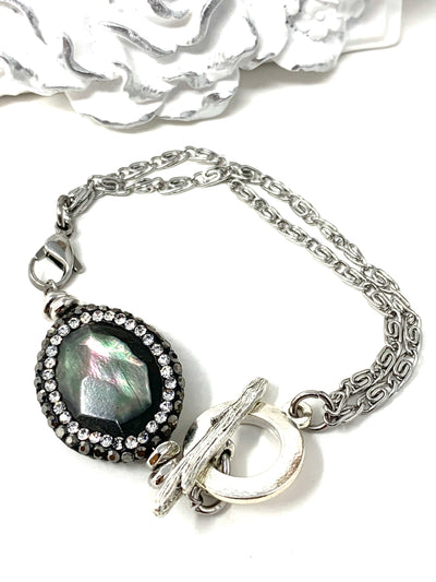 Two In One Labradorite Interchangeable Dangle Bracelet Pendant #3101BC - Bead Dangle Design