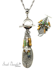 Earthy Boho Solid Pewter Leaf Beaded Cluster Pendant Necklace #2306D - Bead Dangle Design
