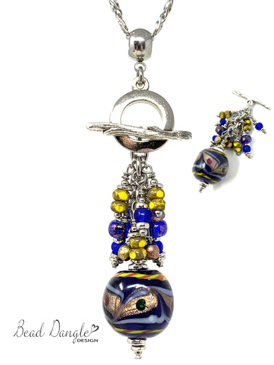 Boho Lampwork Glass Beaded Cluster Pendant Necklace #2302D - Bead Dangle Design