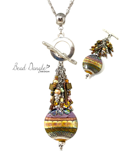 Interchangeable Lampwork Glass and Seed Bead Pendant Necklace #3062D