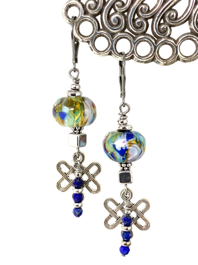Lampwork Glass and Blue Lapis Beaded Dangle Earrings #1362E - Bead Dangle Design