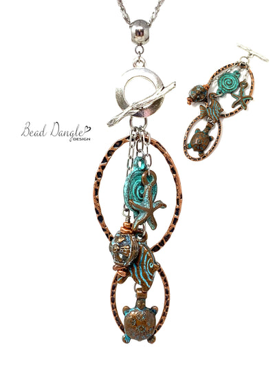 Nautical Patina Copper Beaded Dangle Pendant Necklace #3136D - Bead Dangle Design