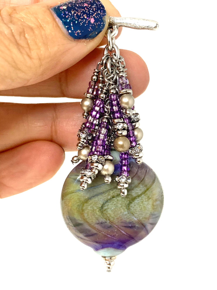 Lavender Bright Green Swirl Glass Beaded Cluster Pendant Necklace #22727D - Bead Dangle Design