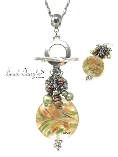 Fall Swirl Lampwork Glass Beaded Cluster Pendant Necklace #2416D - Bead Dangle Design