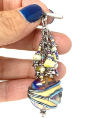Pretty Pastel Opaque Beaded Cluster Dangle Pendant Necklace #2341D - Bead Dangle Design