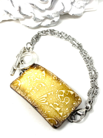 Ceramic Floral Golden Yellow Interchangeable Dangle Bracelet Pendant #3103BC