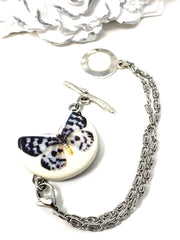 Porcelain Ceramic Butterfly Interchangeable Dangle Bracelet Pendant #3102BC
