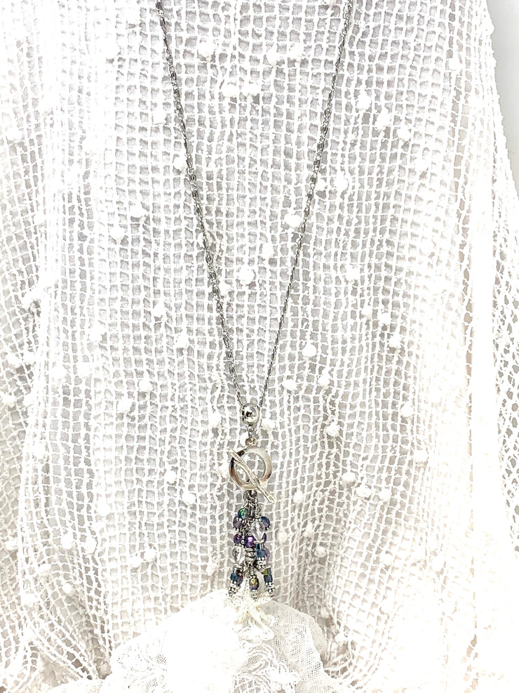 Starfish Faceted Clear Quartz and Faceted Czech Glass Beaded Cluster Pendant Necklace #2665D - Bead Dangle Design