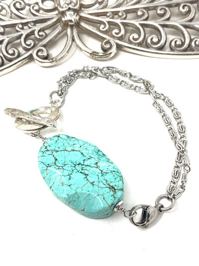 Chunky Turquoise Interchangeable Dangle Bracelet #3210BC