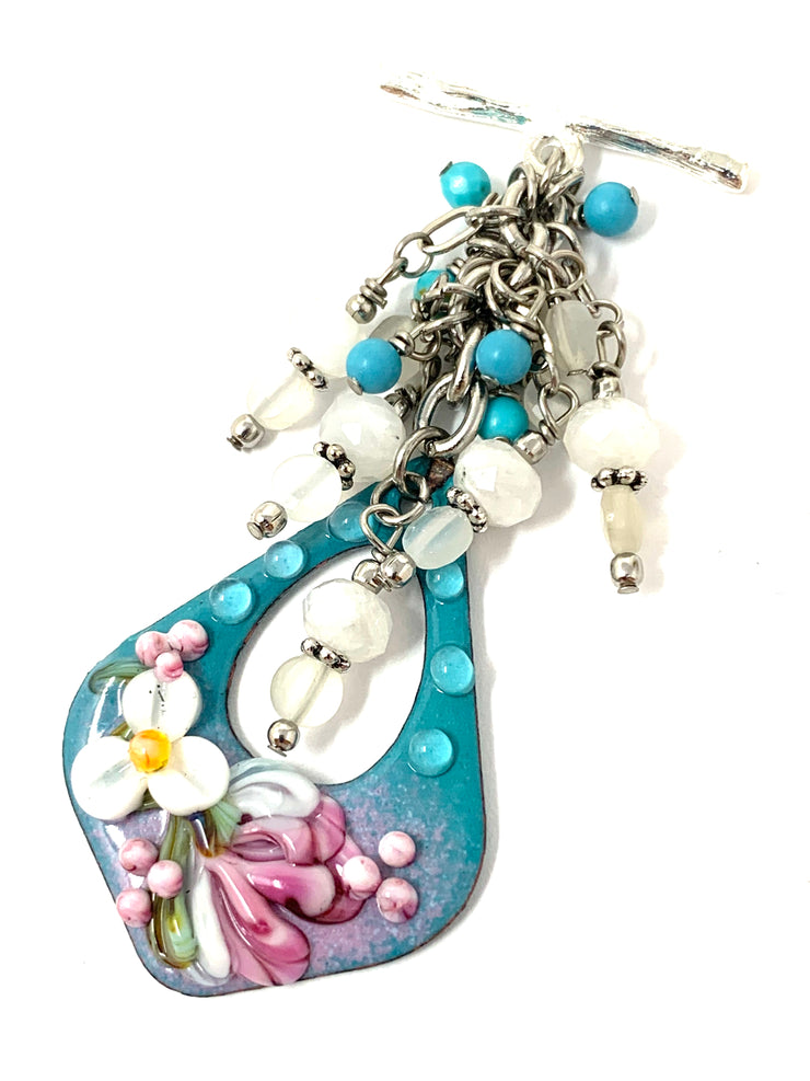 Painted Enamel and White Moonstone Beaded Pendant Necklace #2484D - Bead Dangle Design