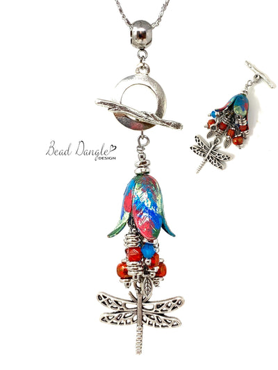 Colorful Painted Copper Tulip Dragonfly Beaded Dangle Pendant Necklace #3175D - Bead Dangle Design