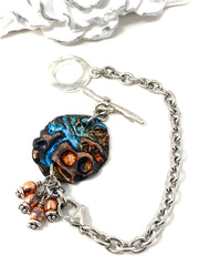 Turquoise and Copper Polymer Clay Boho-Chic Interchangeable Dangle Bracelet Pendant #31069BC