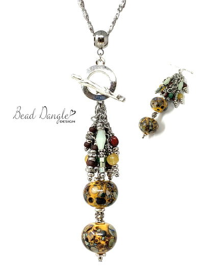 Colorful Lampwork Glass Beaded Cluster Pendant Necklace #3009D
