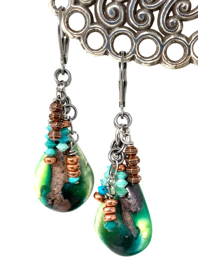 Crackled Ceramic Copper and Turquoise Beaded Dangle Earrings #1346E