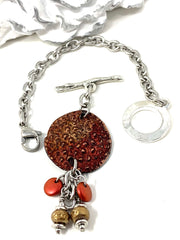 Textured Polymer Clay Copper Interchangeable Dangle Bracelet Pendant #31071BC - Bead Dangle Design