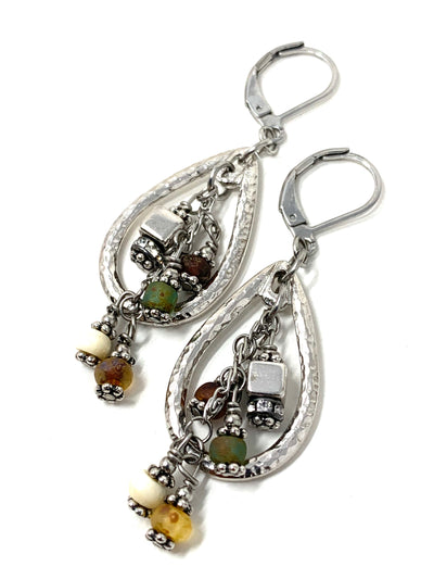 Boho Autumn Glass Beaded Dangle Earrings #1266e - Bead Dangle Design
