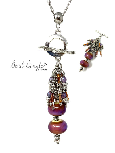 Lampwork Glass and Bugle Beaded Cluster Pendant Necklace #3008D