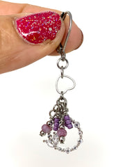 Lavender Seed Bead Crystal Heart Beaded Dangle Earrings #1183E - Bead Dangle Design
