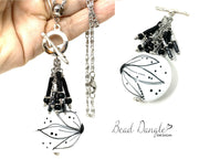 Black and White Floral Beaded Cluster Pendant Necklace #2671D - Bead Dangle Design