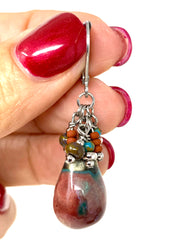 Crackled Ceramic Glass Beaded Dangle Earrings #1213E - Bead Dangle Design