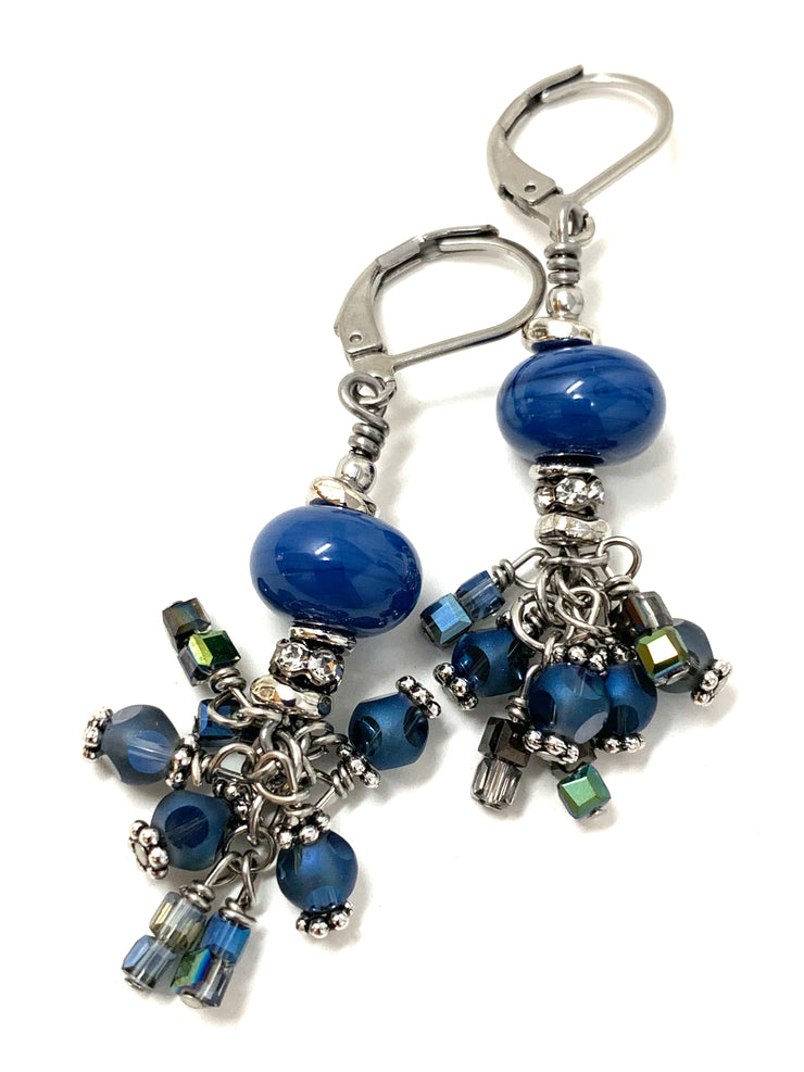 Slate Blue Lampwork Glass Crystal Beaded Dangle Cluster Earrings #1151E
