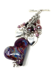 Lampwork Glass Falling Heart Beaded Cluster Necklace #2329D - Bead Dangle Design