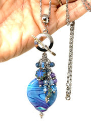 Lavender and Blue Lampwork Glass Swirl Beaded Cluster Pendant Necklace #2294D - Bead Dangle Design