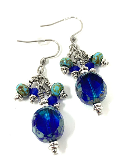 Cobalt Blue Fire Polished Czech Glass Beaded Dangle Earrings #1180E - Bead Dangle Design