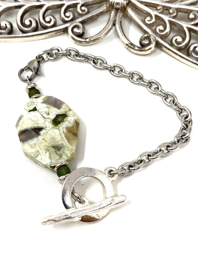 Tree Agate Interchangeable Dangle Bracelet #3225BC - Bead Dangle Design