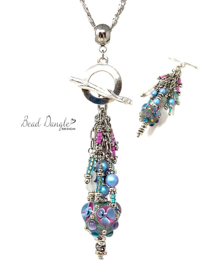 Beautiful Pastel Lampwork Glass Beaded Pendant #3059D - Bead Dangle Design