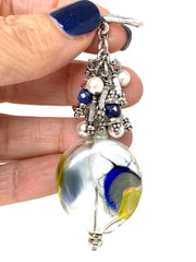 Chunky Blown Lampwork Glass Beaded Pendant #3061D - Bead Dangle Design