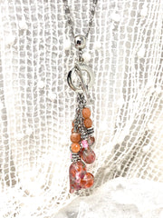 Speckled Lampwork Glass Heart Beaded Dangle Cluster Necklace #2316D - Bead Dangle Design