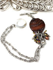 Boho-Chic Polymer Clay Embossed Interchangeable Dangle Bracelet Pendant #31074BC - Bead Dangle Design